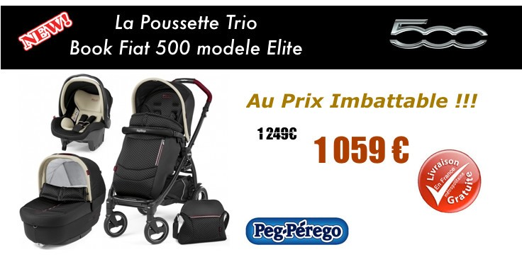 Poussette Trio Book Plus Fiat 500 Elite de Peg Perego